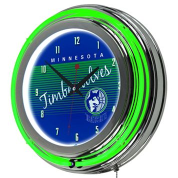 Minnesota Timberwolves Hardwood Classics Chrome Double-Ring Neon Wall Clock