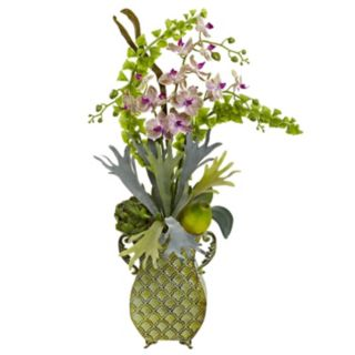 nearly natural Orchid & Bells of Ireland Arrangement