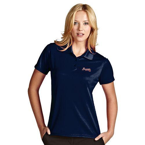 Women's Antigua Atlanta Braves Exceed Desert Dry Xtra-Lite Performance Polo