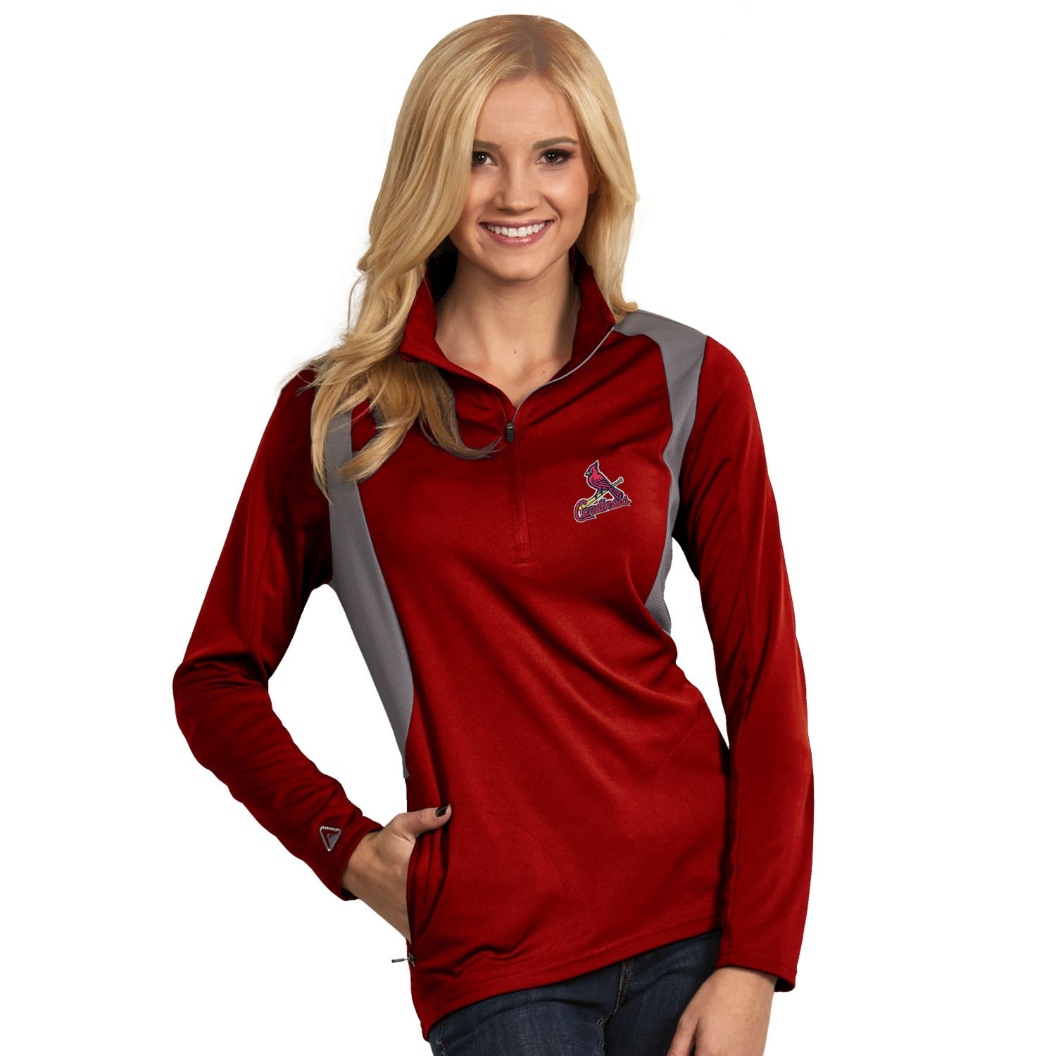 Womens Antigua St. Louis Cardinals Delta 1/4-Zip Pullover