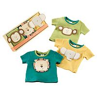 Baby Aspen 3-pk. Safari Animal Tiny Tee Gift Set - Baby Neutral