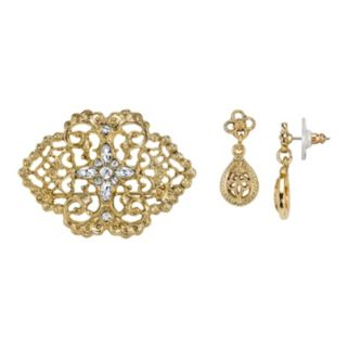 Downton Abbey Filigree Pin & Teardrop Earring Set