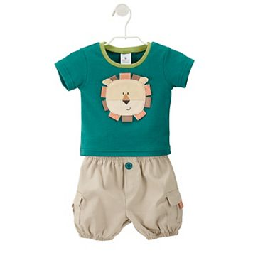 Baby Aspen King of the Jungle Tee & Khaki Cargo Diaper Cover Gift Set - Baby Boy