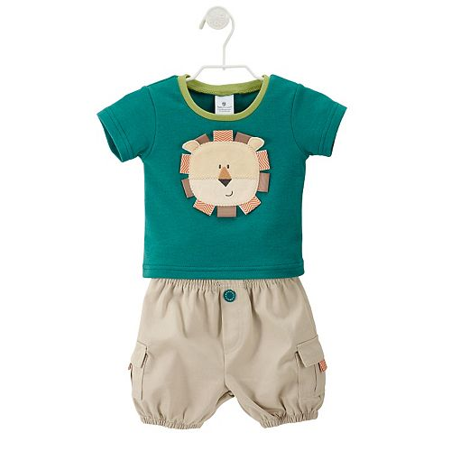 Baby Aspen King of the Jungle Tee & Khaki Cargo Diaper Cover Gift Set - Baby Boy