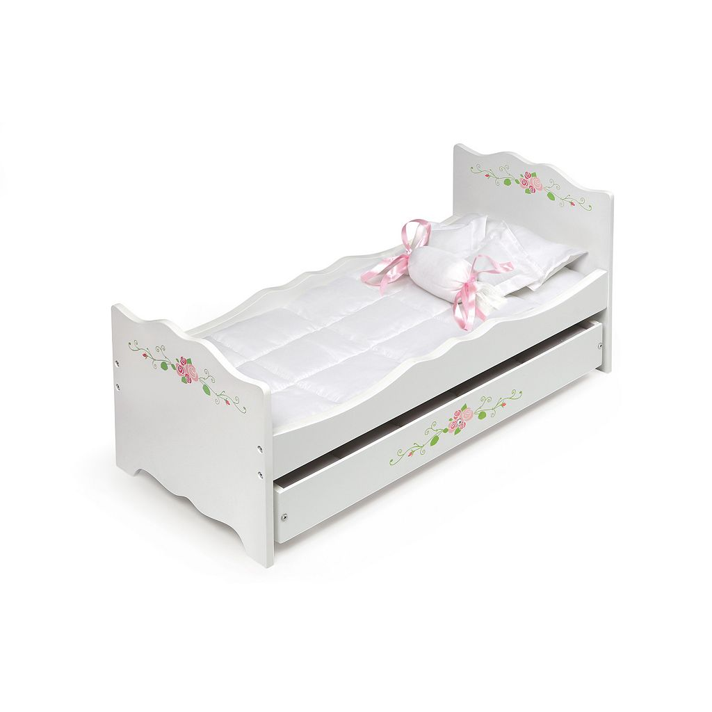 Badger Basket White Rose Wooden Doll Bed with Trundle