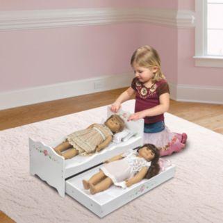 Badger Basket White Rose Wooden Doll Bed with Trundle