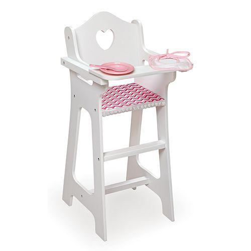 Badger Basket Chevron Doll Wooden High Chair