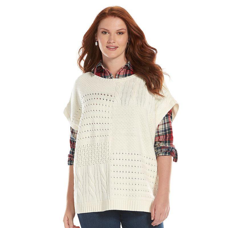 Plus Size Chaps Mixed Knit Sweater