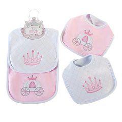 Baby Aspen 2 pkLittle Princess Crown & Carriage Bib Set - Baby Girl