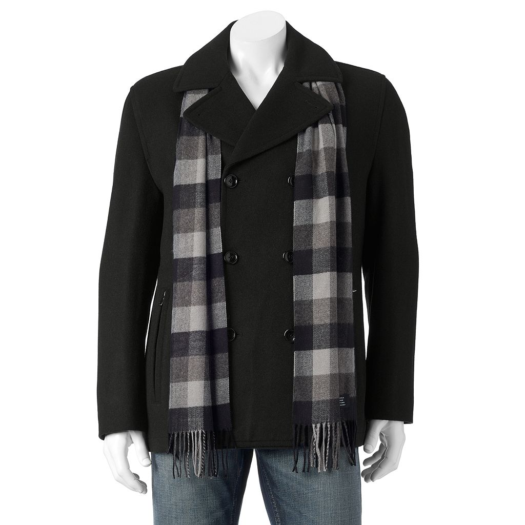 Men's Towne Wool-Blend Double-Breasted Peacoat With Plaid Scarf