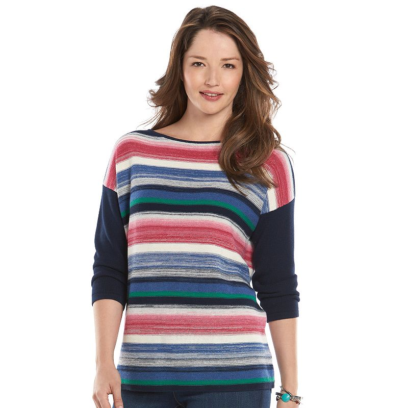 Petite Chaps Striped Boatneck Sweater
