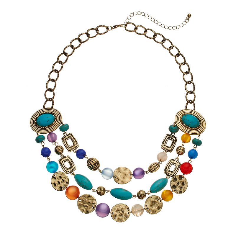 Sonoma Life Style Bead Swag Necklace Turquoise Yellow Gold