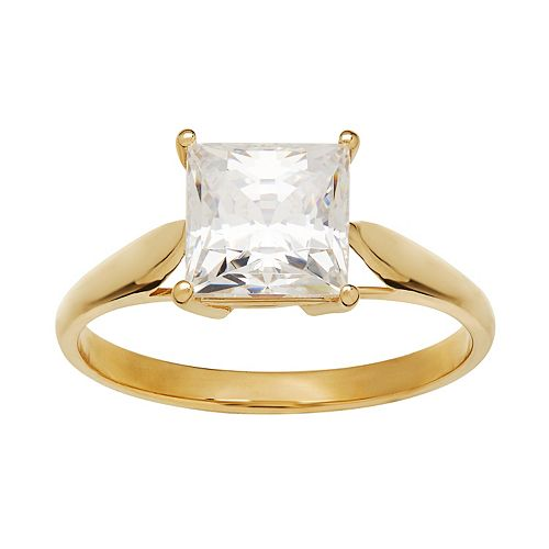 Emotions Cubic Zirconia 10k Gold Solitaire Ring - Made with Swarovski Cubic Zirconia