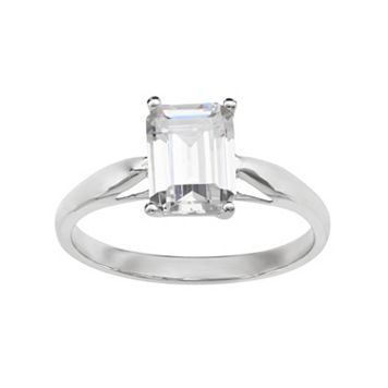 Emotions Cubic Zirconia 10k White Gold Solitaire Ring - Made with Swarovski Cubic Zirconia