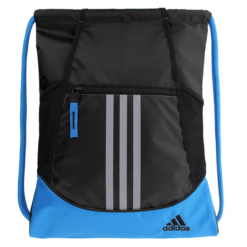 Adidas Alliance Drawstring Backpack, Black Convenient and stylish, this Adidas Alliance sackpack is just what you need. Main compartment with drawstring closure offers easy access to items. Tricot-lined front zip pocket keeps small items on hand. Two exterior side mesh pockets hold water bottles to help you stay hydrated. Dobby polyester Manufacturer's lifetime limited warrantyFor warranty information please click here Wipe clean In-use: 18.75''H x 14''W x 2''D Weight: 0.5 lbs. Exterior: 1 front zip pocket & 2 side mesh pockets Interior: 1 main compartment Zipper & drawstring closures Model numbers: Black yellow: 5136458 Gray royal orange: 5136416 Black orange pink: 5136414 Flash pink: 5136450 Size: One Size. Gender: Unisex.