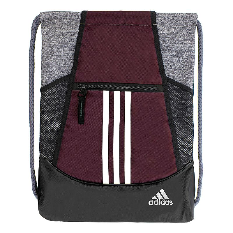 Adidas Alliance Drawstring Backpack, Red Convenient and stylish, this Adidas Alliance sackpack is just what you need. Main compartment with drawstring closure offers easy access to items. Tricot-lined front zip pocket keeps small items on hand. Two exterior side mesh pockets hold water bottles to help you stay hydrated. Dobby polyester Manufacturer's lifetime limited warrantyFor warranty information please click here Wipe clean In-use: 18.75''H x 14''W x 2''D Weight: 0.5 lbs. Exterior: 1 front zip pocket & 2 side mesh pockets Interior: 1 main compartment Zipper & drawstring closures Model numbers: Black yellow: 5136458 Gray royal orange: 5136416 Black orange pink: 5136414 Flash pink: 5136450 Size: Onesize. Color: Red. Gender: Unisex.