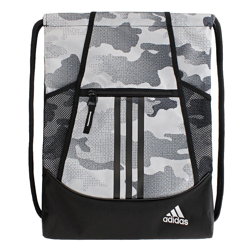 Adidas Alliance Drawstring Backpack, White Convenient and stylish, this Adidas Alliance sackpack is just what you need. Main compartment with drawstring closure offers easy access to items. Tricot-lined front zip pocket keeps small items on hand. Two exterior side mesh pockets hold water bottles to help you stay hydrated. Dobby polyester Manufacturer's lifetime limited warrantyFor warranty information please click here Wipe clean In-use: 18.75''H x 14''W x 2''D Weight: 0.5 lbs. Exterior: 1 front zip pocket & 2 side mesh pockets Interior: 1 main compartment Zipper & drawstring closures Model numbers: Black yellow: 5136458 Gray royal orange: 5136416 Black orange pink: 5136414 Flash pink: 5136450 Size: Onesize. Color: White. Gender: Unisex.