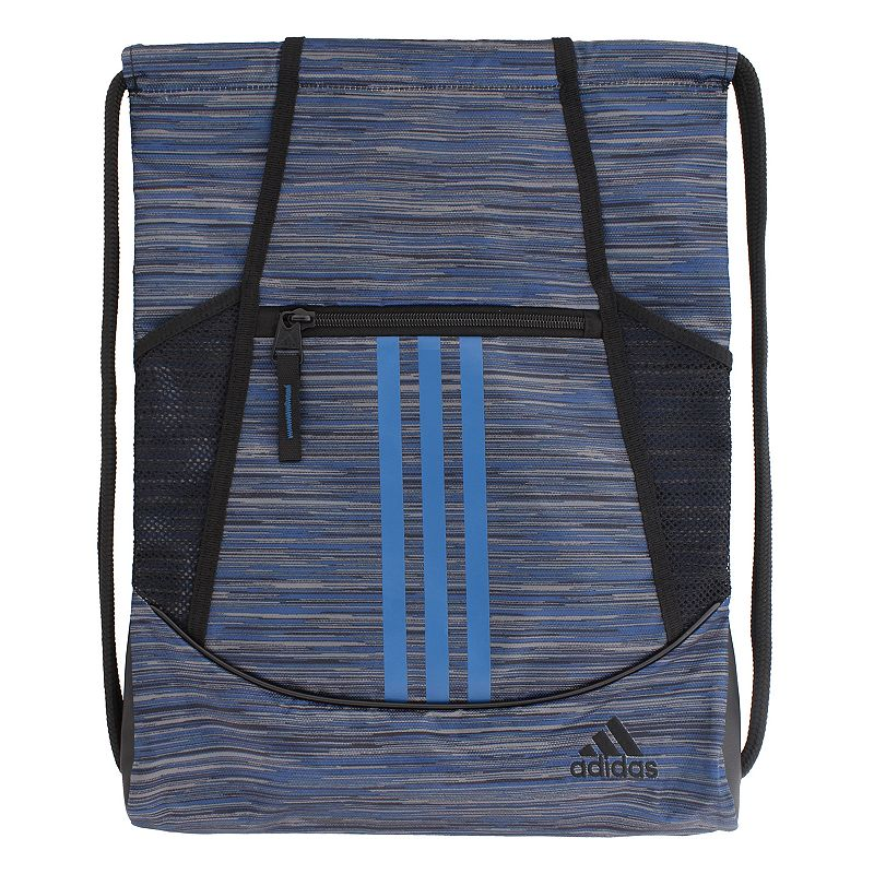 Adidas Alliance Drawstring Backpack, Blue Convenient and stylish, this Adidas Alliance sackpack is just what you need. Main compartment with drawstring closure offers easy access to items. Tricot-lined front zip pocket keeps small items on hand. Two exterior side mesh pockets hold water bottles to help you stay hydrated. Dobby polyester Manufacturer's lifetime limited warrantyFor warranty information please click here Wipe clean In-use: 18.75''H x 14''W x 2''D Weight: 0.5 lbs. Exterior: 1 front zip pocket & 2 side mesh pockets Interior: 1 main compartment Zipper & drawstring closures Model numbers: Black yellow: 5136458 Gray royal orange: 5136416 Black orange pink: 5136414 Flash pink: 5136450 Size: One size. Color: Blue. Gender: Unisex.
