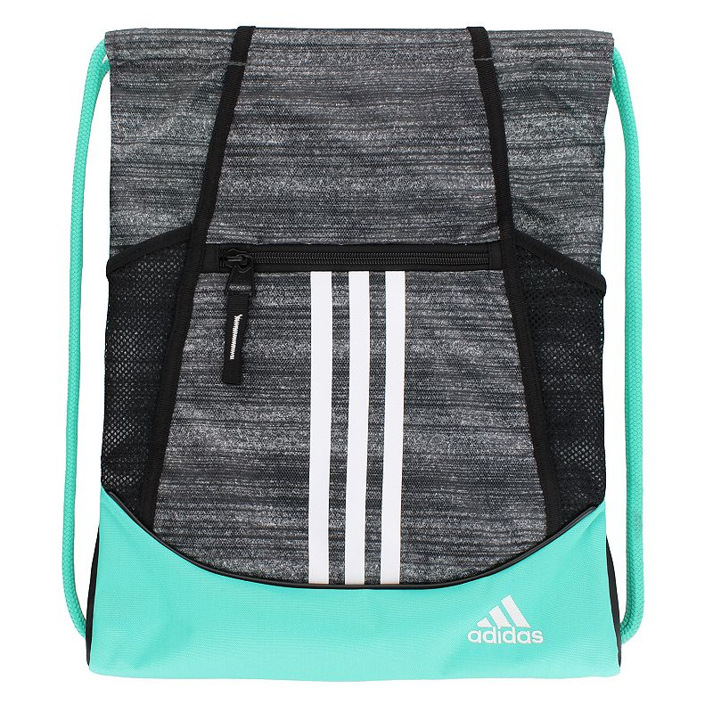 Adidas Alliance Drawstring Backpack, Grey Convenient and stylish, this Adidas Alliance sackpack is just what you need. Main compartment with drawstring closure offers easy access to items. Tricot-lined front zip pocket keeps small items on hand. Two exterior side mesh pockets hold water bottles to help you stay hydrated. Dobby polyester Manufacturer's lifetime limited warrantyFor warranty information please click here Wipe clean In-use: 18.75''H x 14''W x 2''D Weight: 0.5 lbs. Exterior: 1 front zip pocket & 2 side mesh pockets Interior: 1 main compartment Zipper & drawstring closures Model numbers: Black yellow: 5136458 Gray royal orange: 5136416 Black orange pink: 5136414 Flash pink: 5136450 Size: One size. Color: Grey. Gender: Unisex.
