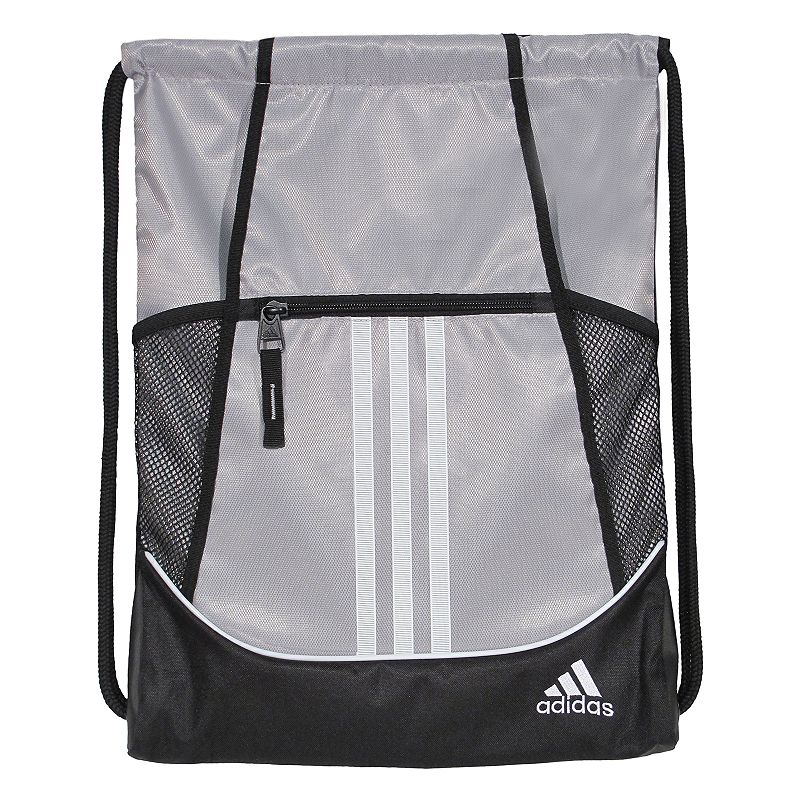 Adidas Alliance Drawstring Backpack, Silver Convenient and stylish, this Adidas Alliance sackpack is just what you need. Main compartment with drawstring closure offers easy access to items. Tricot-lined front zip pocket keeps small items on hand. Two exterior side mesh pockets hold water bottles to help you stay hydrated. Dobby polyester Manufacturer's lifetime limited warrantyFor warranty information please click here Wipe clean In-use: 18.75''H x 14''W x 2''D Weight: 0.5 lbs. Exterior: 1 front zip pocket & 2 side mesh pockets Interior: 1 main compartment Zipper & drawstring closures Model numbers: Black yellow: 5136458 Gray royal orange: 5136416 Black orange pink: 5136414 Flash pink: 5136450 Size: Onesize. Color: Silver. Gender: Unisex.