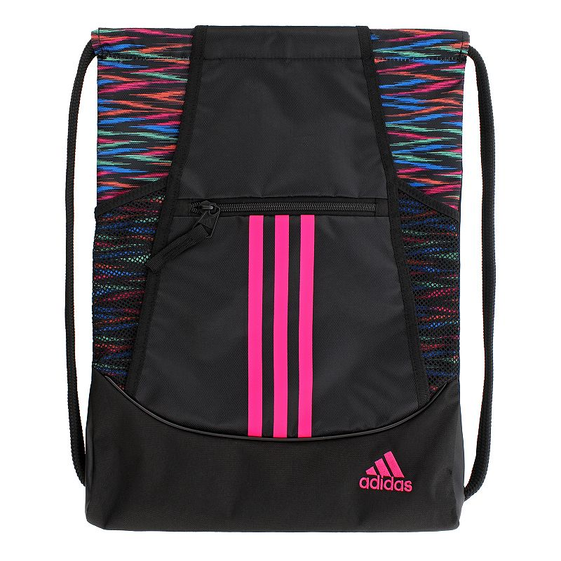 Adidas Alliance Drawstring Backpack, Black Convenient and stylish, this Adidas Alliance sackpack is just what you need. Main compartment with drawstring closure offers easy access to items. Tricot-lined front zip pocket keeps small items on hand. Two exterior side mesh pockets hold water bottles to help you stay hydrated. Dobby polyester Manufacturer's lifetime limited warrantyFor warranty information please click here Wipe clean In-use: 18.75''H x 14''W x 2''D Weight: 0.5 lbs. Exterior: 1 front zip pocket & 2 side mesh pockets Interior: 1 main compartment Zipper & drawstring closures Model numbers: Black yellow: 5136458 Gray royal orange: 5136416 Black orange pink: 5136414 Flash pink: 5136450 Size: Onesize. Gender: Unisex.