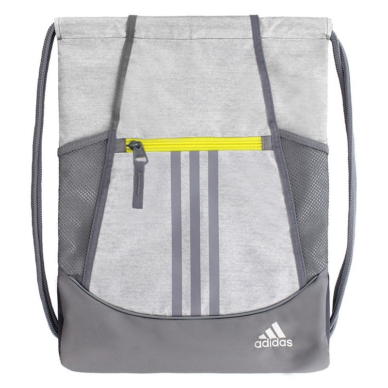 Adidas Alliance Drawstring Backpack, White Convenient and stylish, this Adidas Alliance sackpack is just what you need. Main compartment with drawstring closure offers easy access to items. Tricot-lined front zip pocket keeps small items on hand. Two exterior side mesh pockets hold water bottles to help you stay hydrated. Dobby polyester Manufacturer's lifetime limited warrantyFor warranty information please click here Wipe clean In-use: 18.75''H x 14''W x 2''D Weight: 0.5 lbs. Exterior: 1 front zip pocket & 2 side mesh pockets Interior: 1 main compartment Zipper & drawstring closures Model numbers: Black yellow: 5136458 Gray royal orange: 5136416 Black orange pink: 5136414 Flash pink: 5136450 Size: One Size. Color: White.