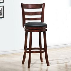 HomeVance Atalya 29 in Faux Leather Swivel Bar Stool