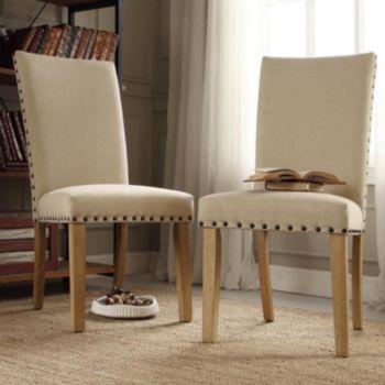 HomeVance 2-piece Dorchester Nailhead Driftwood Chair Set