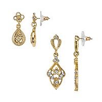 Downton Abbey Teardrop & Filigree Earring Set