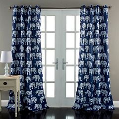 Lush Decor Elephant Parade Room Darkening Window Curtain Pair - 52'' x 84''