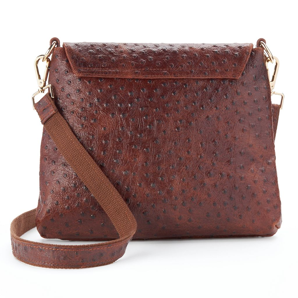 AmeriLeather Ostrich Embossed Leather Mini Crossbody Bag