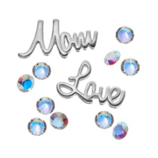 "Blue La Rue Crystal Silver-Plated ""Mom"" & ""Love"" Charm Set - Made with Swarovski Crystals"