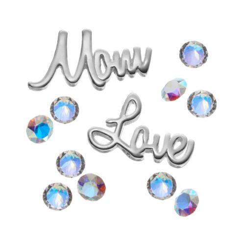 "Blue La Rue Crystal Silver-Plated ""Mom"" & ""Love"" Charm Set - Made with Swaro..."