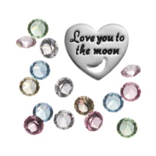"""Blue La Rue Crystal Silver-Plated Heart & """"Love"""" Charm Set - Made with Swarovski Crystals"""
