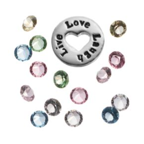 "Blue La Rue Crystal Silver-Plated ""Live Love Laugh"" Charm Set - Made with Swarovski Crystals"