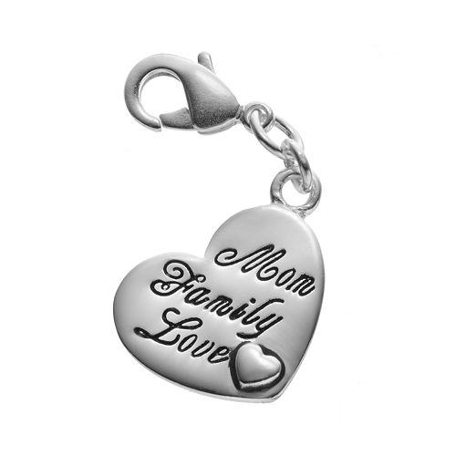 "Blue La Rue Silver-Plated ""Mom Family Love"" Heart Charm"