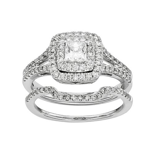IGL Certified Diamond Square Halo Engagement Ring Set In