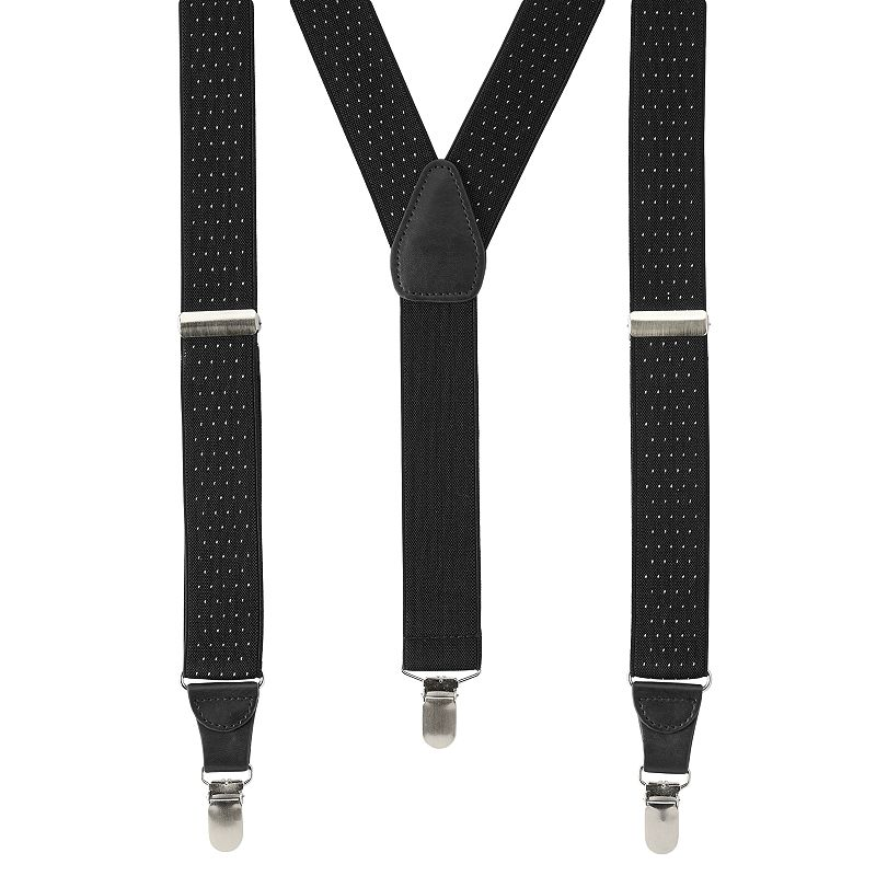 Wembley Pindot Stretch Suspenders - Men, Black Dressed to the nines. Step up your workday style with these men's Wembley suspenders and their sophisticated pindot pattern. 1.25-inches wide Grip teeth on clips Adjustable buckles Silver-tone hardware FIT & Sizing One size fits most Fabric & Care Polyester, rubber Spot clean Imported Color: Black. Gender: Male. Age Group: Adult.