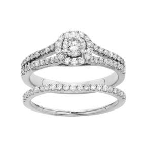 IGL Certified Diamond Halo Engagement Ring Set in 14k Gold (1 Carat T.W.)