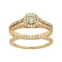 IGL Certified Diamond Halo Engagement Ring Set in 14k Gold (1 Carat T.W.)