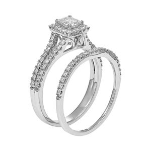 IGL Certified Diamond Square Halo Engagement Ring Set in 14k Gold (1 Carat T.W.)