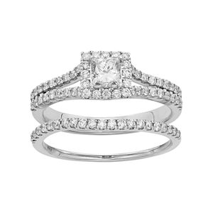 IGL Certified Diamond Square Halo Engagement Ring Set in 14k Gold (1 Carat T.W.)