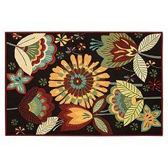 Nourison Fantasy Black Floral Rug