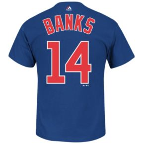 Majestic Chicago Cubs Ernie Banks Cooperstown Collection Player Name and Number Tee - Men