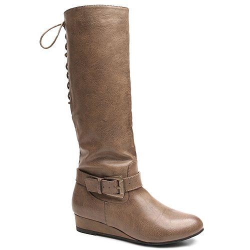 by 2 Lips Too Too Shake Women's Knee-High Wedge Boots