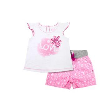 """Toddler Girl Lee """"Love"""" Flower Tee & Shorts Set"""