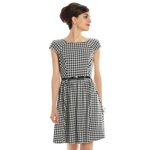 ELLE? 70th Anniversary Collection 1950s Gingham Fit & Flare Dress - Women's