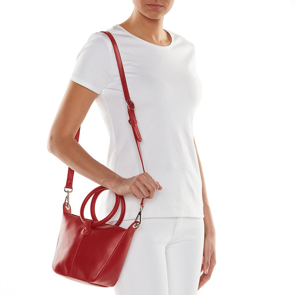ili Leather Double-Ring Crossbody Bag