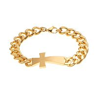 Yellow Ion-Plated Stainless Steel Sideways Cross Bracelet - Men