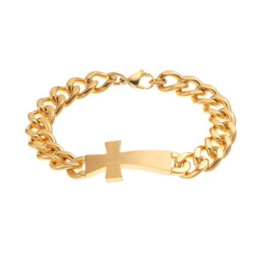 Yellow Ion-Plated Stainless Steel Sideways Cross Bracelet - Men
